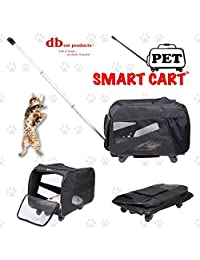 Pet Smart Cart, Medium, Black, Rolling Carrier with Wheels Soft Sided Collapsible Folding Travel Bag, Dog Cat Airline Approved Tote Luggage Backpack