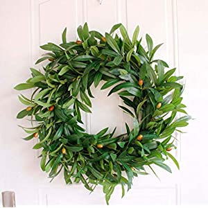 Grapy 16 Inch Artificial Olive Wreath Indoor Outdoor Farmhouse Garland Greenery Wreaths Faux Foliage Spring Wreath for Front Door Home Office Wall Wedding Decoration Green 33