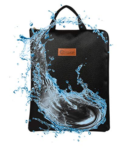 """Fire Safe, Fireproof Safe Document Bag (14""""x 11"""") Waterproof Non-Itchy, Zipper Closure, Silicone Coated Home Security for Maximum Storage (black1)"""
