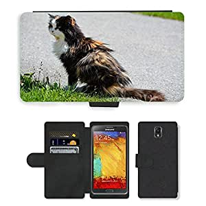 CARD POCKET BOOK CASE PU LEATHER CASE // M00146865 Gato Animal Pet Tres Colores Felted // Samsung Galaxy Note 3 III N9000 N9002 N9005