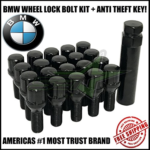 Supreme Engineering Technologies 20 BMW Lug Bolt Wheel Locks + Key 12x1.5 Fits M3 M5 335 135 E46 F10 F30 E36 (Black)