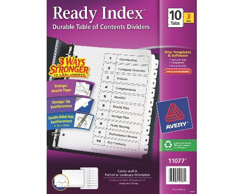 Avery Ready Index Table of Contents Dividers, 10-Tab, 3 Sets (11077)