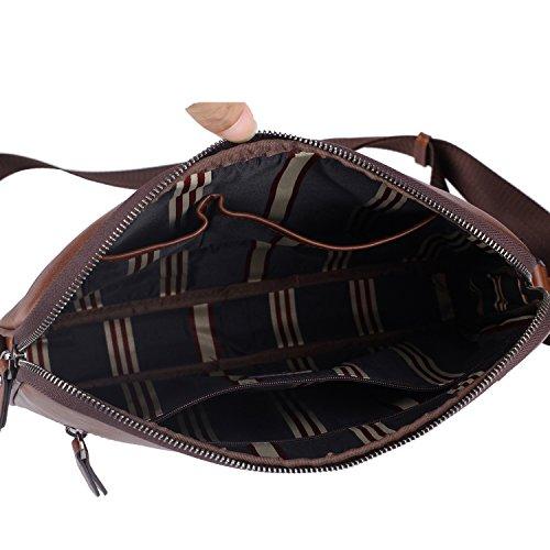 Banuce Small Vintage Leather Menssenger Bag for Men Shoulder Crossbody Bag Brown by Banuce (Image #5)
