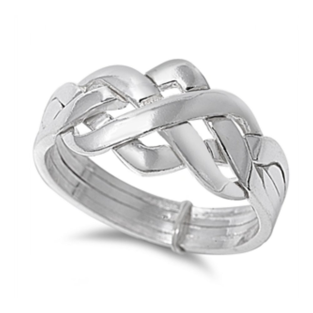 925 Sterling Silver 4pc Puzzle Ring Ring Glitzs 10780