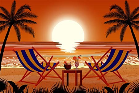 Beautiful Tropical Vacation Hawaiian Sunset with Cocktails Cartoon Icon Truck Car Bumper Sticker Vinyl Decal 5