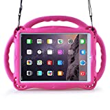 eTopxizu Kids Case for New iPad 9.7 2018/2017, Light Weight Shockproof Silicone Handle Stand Case Cover with Shoulder Strap Lanyard for iPad 9.7 2018/2017/iPad Air/iPad Air 2 - Rose Pink