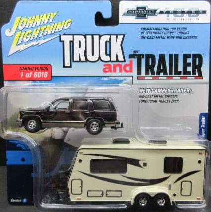 "1997 Chevrolet Tahoe Dark Cherry with Camper Trailer Limited Edition to 6,016 pieces""Truck and Trailer"" Series 2""Chevrolet Trucks 100th Anniversary"" 1/64 Diecast Model by Johnny Lightning JLSP016 from Johnny Lightning"