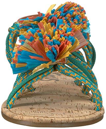 Sam Edelman Women's bice Flat Sandal Bermuda Blue/Sunglow Yellow/Jade Green PNCJtxJv1