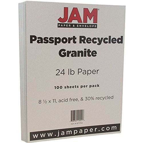 JAM PAPER Recycled 24lb Paper - 8.5 x 11 - Passport Granite - 100 Sheets/Pack