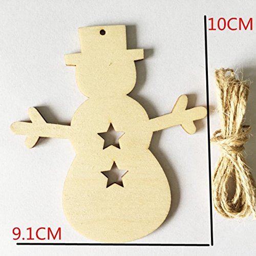 Lingdun Creative Hobbies Unfinished Wooden Christmas Ornaments , Ready to Paint or Decorate,One pack of 5 (snowman)