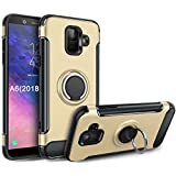 Galaxy A6 2018 Case,GETE 360 Degree Rotating Ring Holder Kickstand Protective Phone Cases Cover for Samsung Galaxy A6 2018 (Gold)