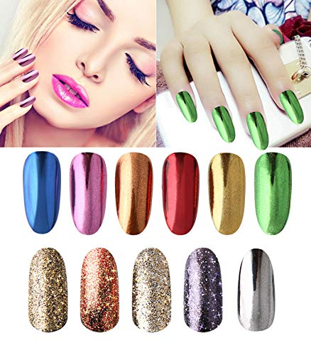 Nail Chrome Powder - Mirror & Colorful Effect Holographic Glitter Nail Powder Manicure Pigment Kit - 11colors Beauty Kate