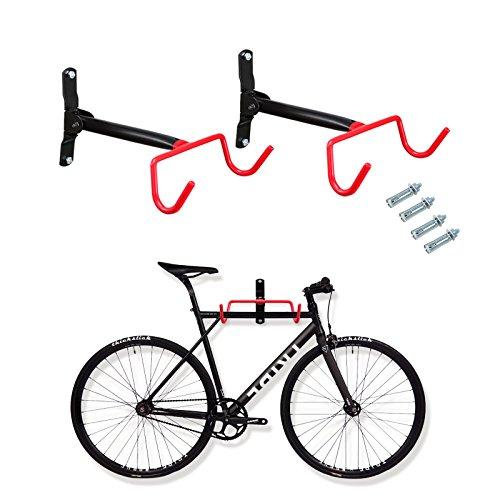 Voilamart 2pcs Bike Wall Mount Hanger - Indoor Storage Rack, Garage Bicycle Holder Hook Folding Space Saver with Screws, 66lb Max Capacity -