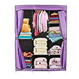 Homgrace Wardrobe Storage Closet Clothes Organizer, Portable Closet Storage Organizer with Shelves. 68''+70'' (Purple)
