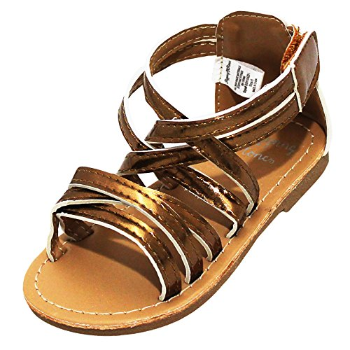 Copper Footwear (Stepping Stones Little Girls Gladiator Copper Sandals (Girls Strappy Sandals) Size 3 Open Toe Sandals)