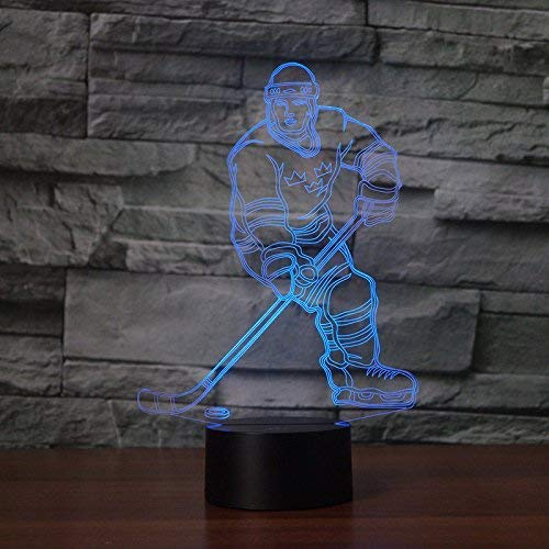 3D Ice Hockey Night Light USB Touch Switch Decor Table Desk Optical Illusion Lamps 7 Color Changing Lights LED Table Lamp Xmas Home Love Brithday Children Kids Decor Toy Gift ()