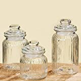 The Iconic Ribbed and Knob Topped Clear Glass Kitchen Storage Jars, Set of 3, Air Tight Seals, 9, 7 1/2 , and 6 Inches Tall, By Whole House Worlds