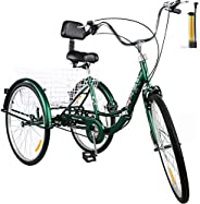 Happybuy Foldable Tricycle 24'' Wheels, 1-Speed Trike, 3 Wheels Colorful Bike with Basket, Portable and Foldab
