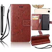 Samsung Galaxy S4 Mini Case, Bonice 3 in 1 Accessory PU Leather Flip Practical Book Style Magnetic Snap Wallet Case with [Card Slots] [Hand Strip] Premium Multi-Function Design Cover + Black Stylus Pen + Diamond Wings Antidust Plug, Reddish Brown