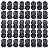 ARTGEAR Cable Gland, PG9 Plastic Waterproof Adjustable 4.0-8mm Cable Gland Joint with Gaskets, M16*1.5 Wire Connector, Wire Protector (Pack of 40, Black)