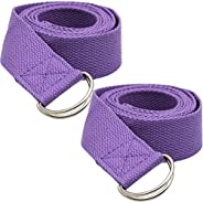 2 Pack Yoga Strap 6ft with Adjustable D-Ring Buckle - Durable Polyester Cotton Exercise Straps for Stretching,