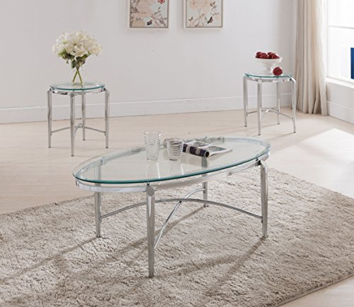 3 Piece Glass Top Table - Kings Brand Furniture 3 Piece Glass Top Coffee Table & 2 End Tables Occasional Set, Chrome