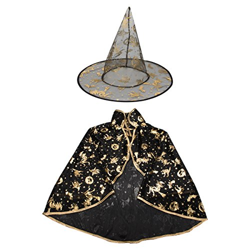 Girl Wizard Costume Ideas (ON'H Halloween Costumes Witch Wizard Cloak with Hat for Kids Boys Girls - Black)