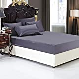 LUXUER - Silk Fitted Sheet/ Mattress Cover/Protector 1PC Machine Washable Handmade 100% Pure Mulberry Silk for All Seasons 16'' Deep Full Size, Purple Grey/Gray