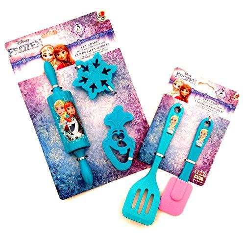 Girls Kitchen Set: Disney Frozen Anna Elsa Olaf Kitchen Gadgets for Kids Bundle (5 Items)