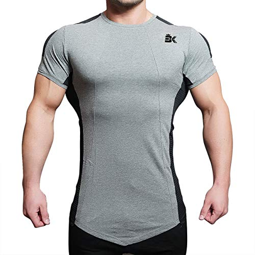 BROKIG Mens Gym Running Compression Top Bodybuilding Fitness Base Layers Short Sleeves T Shirts (L, Classic ()