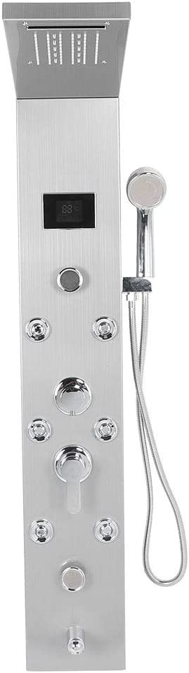 Panel de columna de ducha de hidromasaje de acero inoxidable plateado, con 8 boquillas de masaje grandes, columna de ducha multifuncional, aproximadamente 51 x 20 x 116 cm