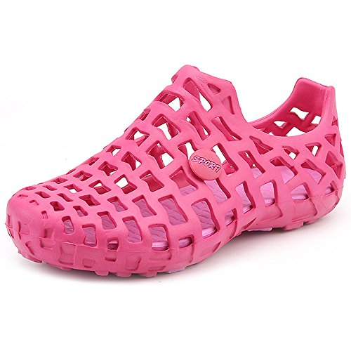 Eastlion Couple Hole Shoes Hollow Breathable Unisex Sandals Beach Shoes Rose Red hpAO93