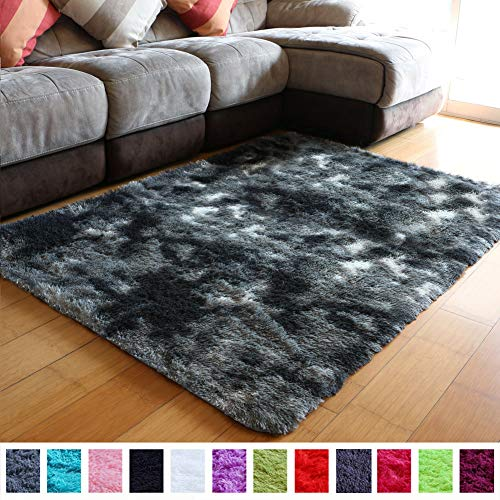 PAGISOFE Ultra Soft Abstract Area Fluffy Rug Black White Gray 4x5.3 Feet Carpet Thick Accent Rugs for Living Room Bedroom Dining Room Decor Multi Color with Rubber Backing (Grey and Black and White)