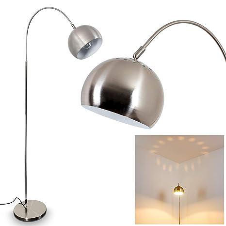 Lámpara de pie flisa de metal níquel mate – Lámpara de suelo para dormitorio – Salón – Oficina – Cabeza de la lámpara ajustable