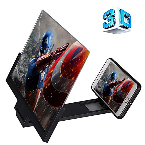 12'' 3D Screen Magnifier, APAD HD Cell Phone Screen Enlarger Movie Amplifier Magnifying Glass with Foldable Stand for iPhone Samsung and All Other Mobile Phones (Best Large Screen Cell Phone)