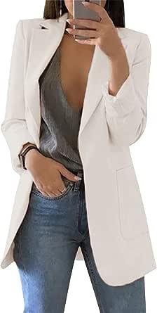OLIPHEE Mujer Blazer Traje De Chaqueta Ropa Trabajo Casual OL Oficina Negocio con Bolsillo