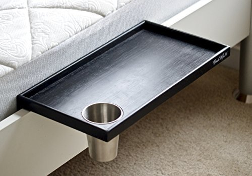 """Bed Shelf - WITH BUILT IN CUP HOLDER - Bedside Shelf Organizer - Great For Headboards, Bunkbeds, Bedsides - Large 17 x 9.5in - Easily Adjustable 2"""" Padded Clamps - Only Shelf With Built In Cupholder"""