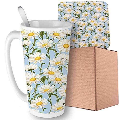 (Chamomile Flowers Garden Foliage Harvest Yard Shabby, Ivory Olive Green Baby Blue;Ceramic mug with Spoon & Coaster Creative Morning Milk Coffee Tea Porcelain 16oz gifts for family )