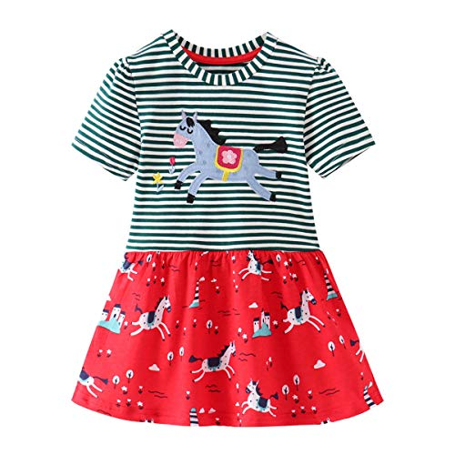 Eocom Little Girls Soft Summer Cotton Short Sleeve Dresses T-Shirt Casual Cartoon Dress Outfit 2-7 Years (1# Color, 5T) -