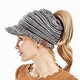 c8292b902a8 Heyuni.1PC Ladies Baseball Cap Caps Open Ponytail Hat Winter Wool Cap