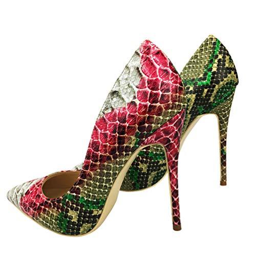 de d'impression Femmes Chaussures Sexy 10cm Serpent 12cm Talons Hauts Dames Mariage 8cm 10cm Pointue Talons Partie Escarpins Rouge qwwUgSXEx