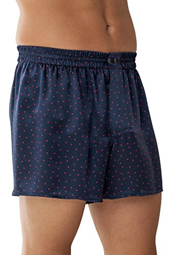 Dark Navy w/Red Polka Dots XXL (Zimmerli Silk Boxer)