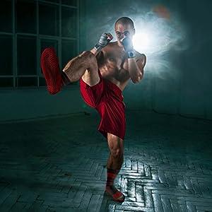 Best Non Slip Red/Black Athletic Treaded Socks for Martial Arts & Pilates
