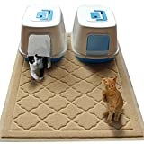 Easyology Jumbo Size Cat Litter Mat - (47 x 36 in) - Extra Large Scatter Control Kitty Litter Mats for Cats Tracking Litter Out of Their Box - Soft to Paws- (Patent Pending) (Beige)