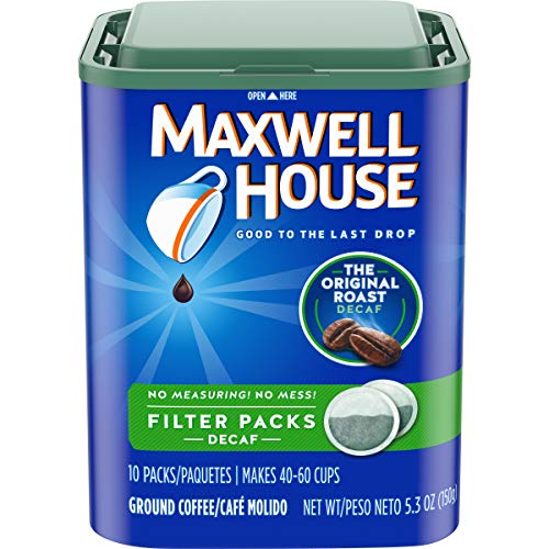 Maxwell House Original Medium Roast Decaf Coffee Filter Packs (40 Count, 4 Canisters of 10) (Sealed Coffee Filters)