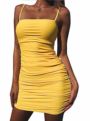 - Kaximil Women's Sexy Strap Balckless Sleeveless Ruched Mini Club Dresses,Yellow,X-Large