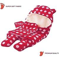 My NewBorn Ultra Soft Fleece Blanket Cum Swaddle Sleeping Bag (Pink)