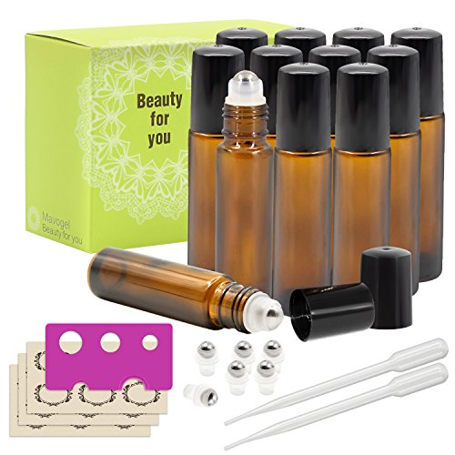 Mavogel 12-Piece 10ml Amber Glass Roll on Bottles with Stainless Steel Roller Ball, 6 Extra Roller Ball, 18-Piece Labels, Opener and 3ml Dropper for Essential Oils