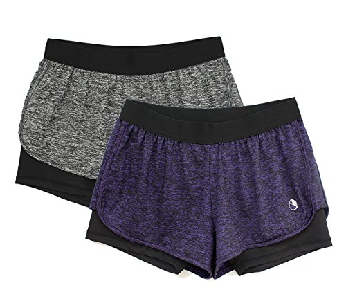 icyzone Activewear Workout Yoga Running Fitness Exercise Athletic Shorts Women 2-in-1 (Charcoal/Purple, L) -