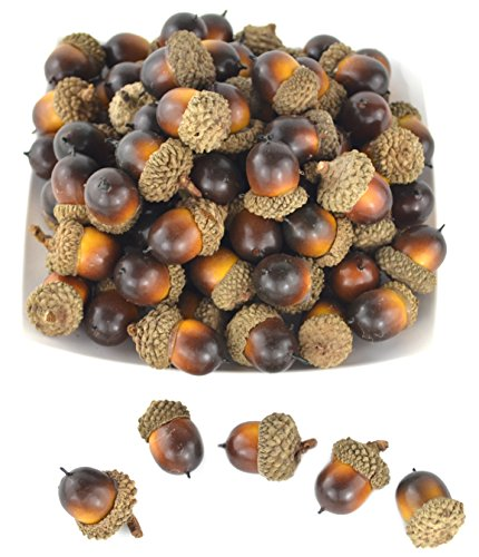 SAMYO 50 PCS Simulation Artificial Lifelike Fruit Nutty-brown Acorns for Fall Table Scatter Crafting, drawing,Home House Kitchen and Autumn Decoration -